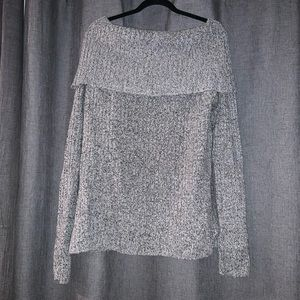 Sweaters - Grey Oversized Off The Shoulder Sweater